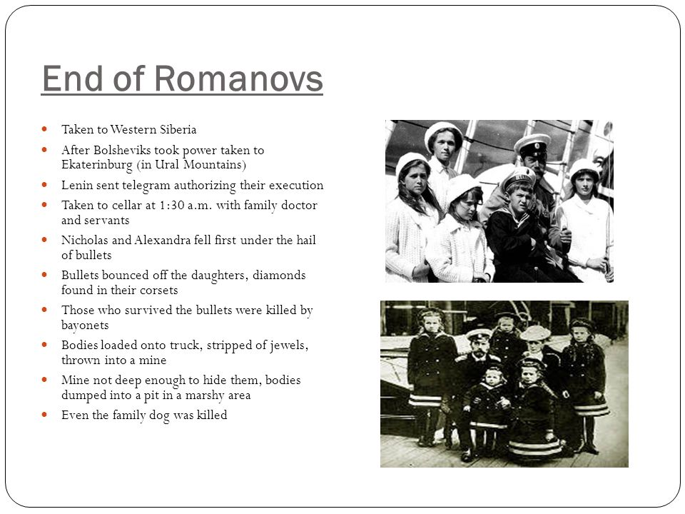 End of Romanovs Taken to Western Siberia