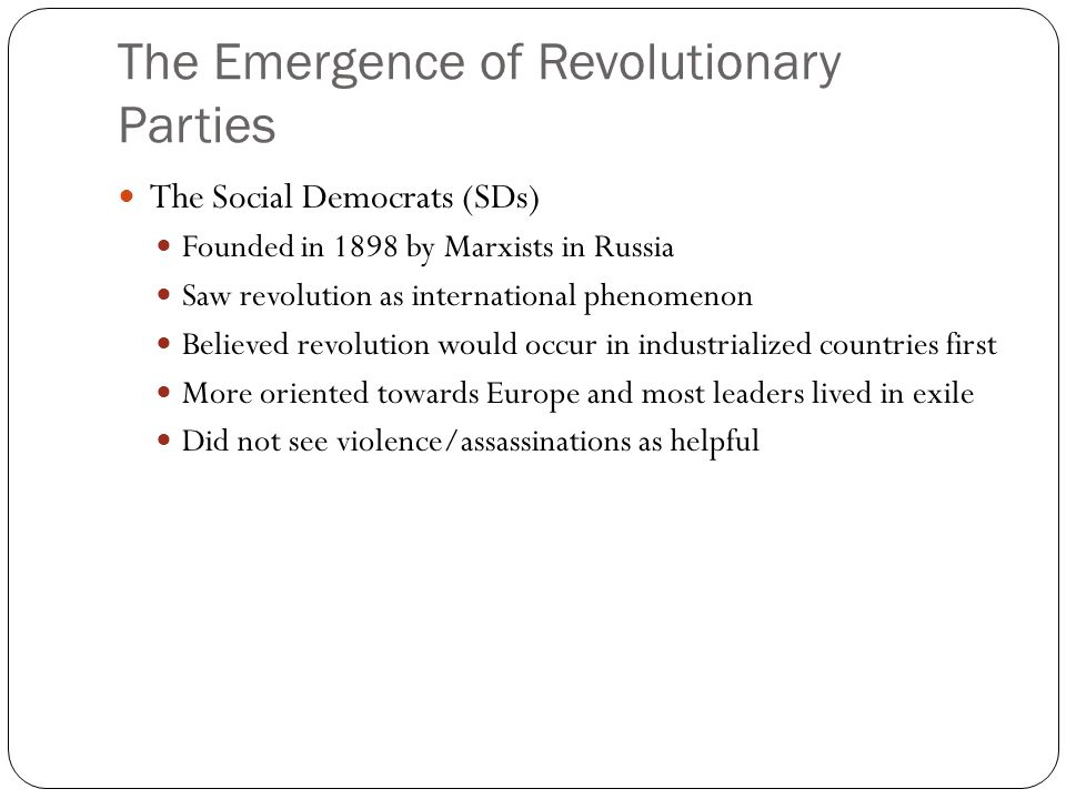 The Emergence of Revolutionary Parties