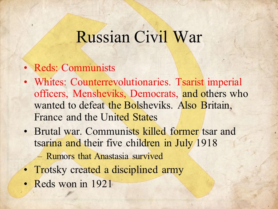 Russian Civil War Reds: Communists