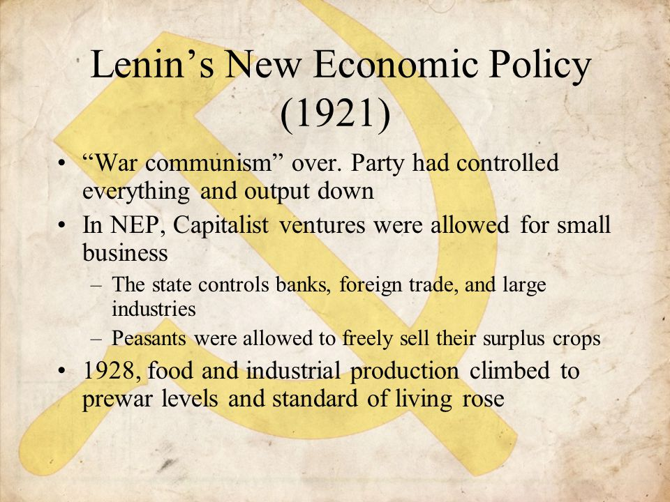 Lenin's New Economic Policy (1921)