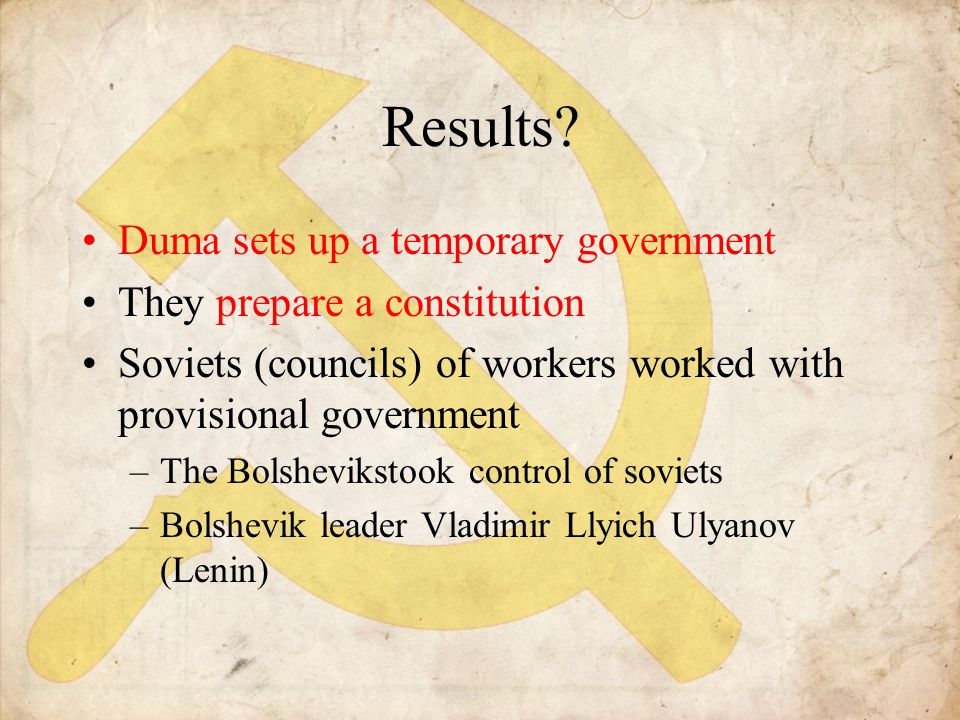 Results Duma sets up a temporary government