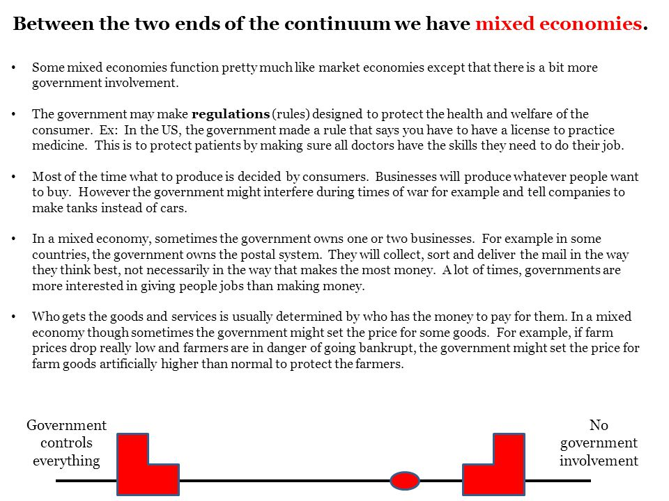 Between the two ends of the continuum we have mixed economies.