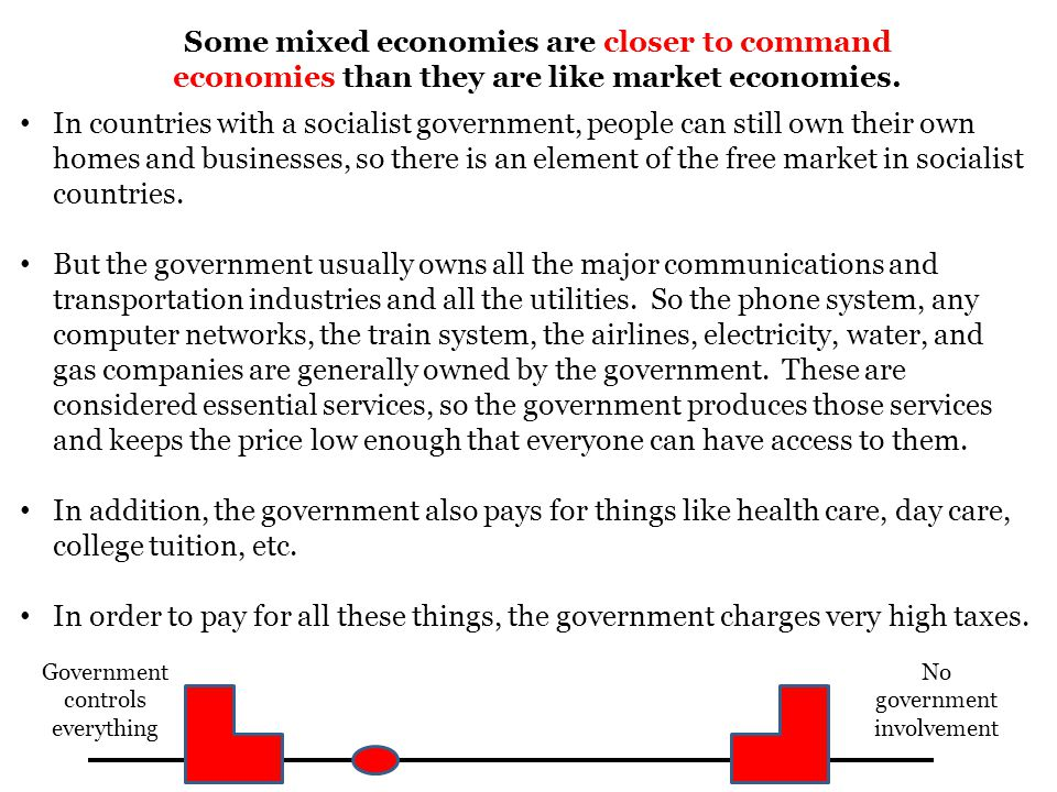 Some mixed economies are closer to command economies than they are like market economies.