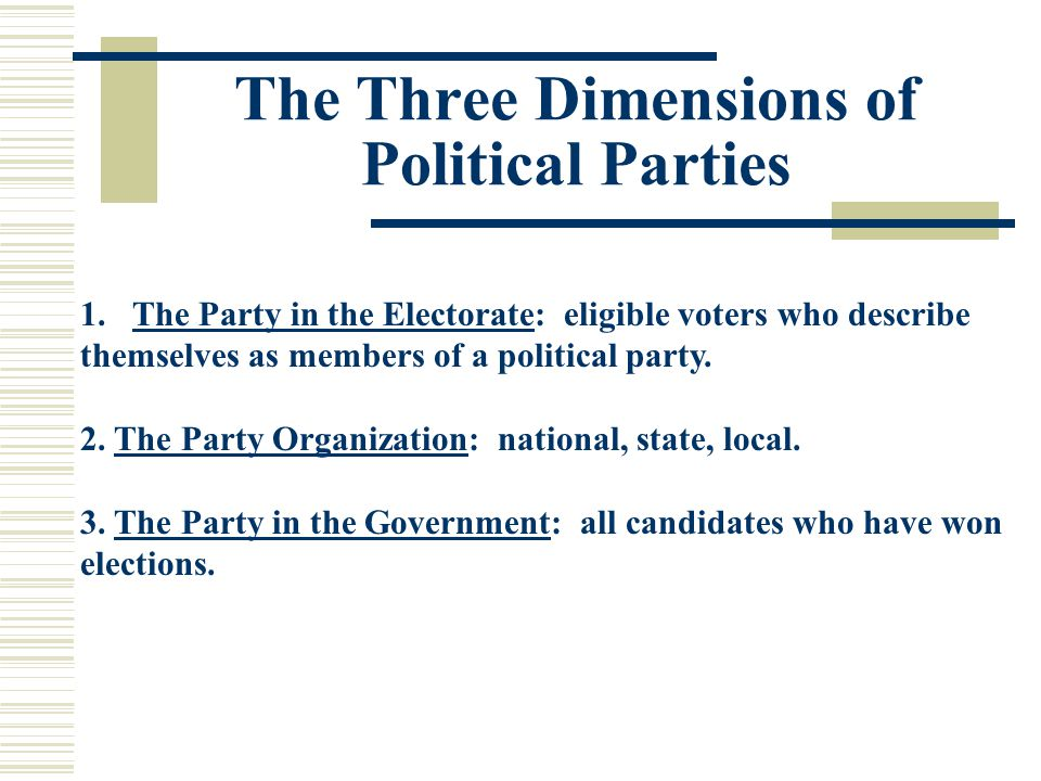 The Three Dimensions of Political Parties