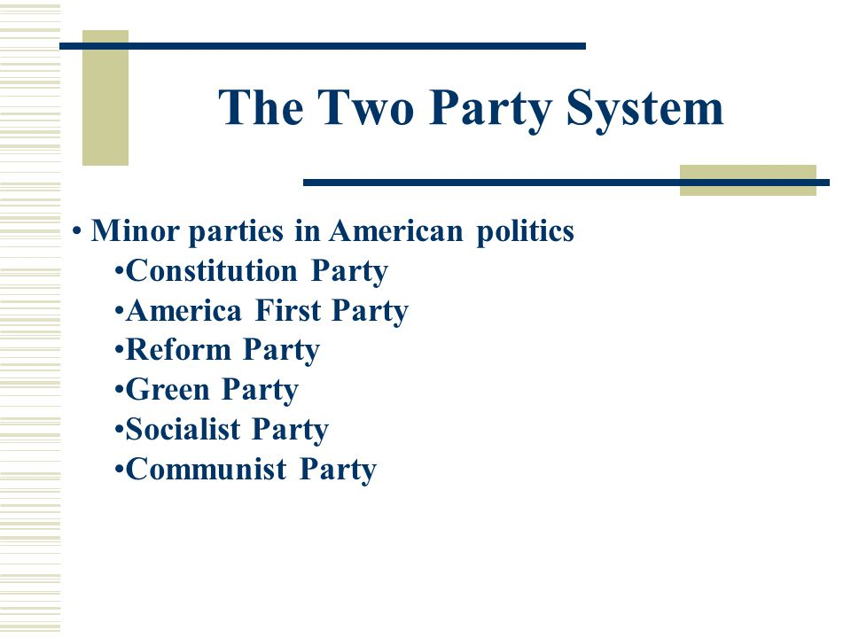 The Two Party System Minor parties in American politics