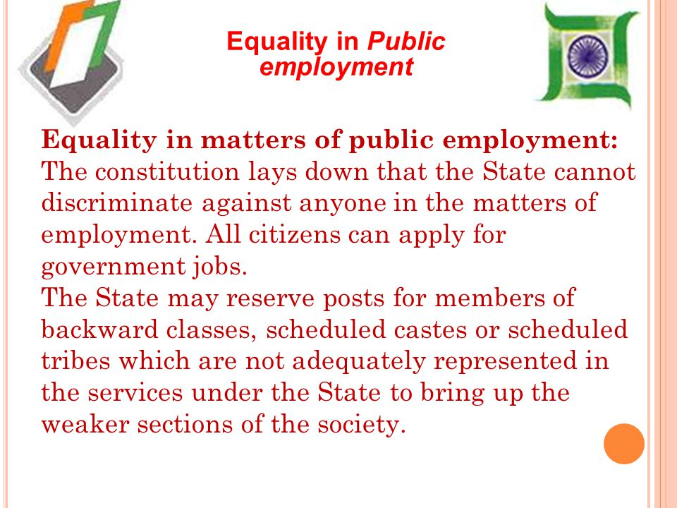 Equality in Public employment