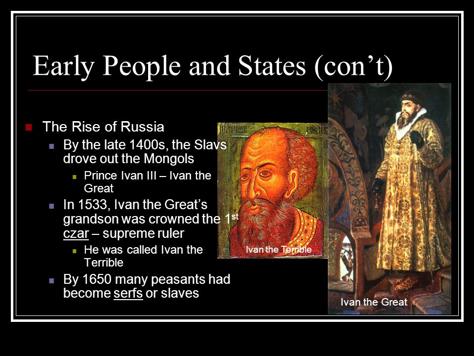 Early People and States (con't)