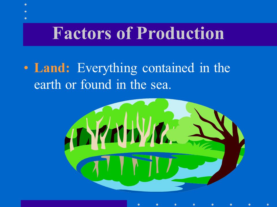 Factors of Production Land: Everything contained in the earth or found in the sea.