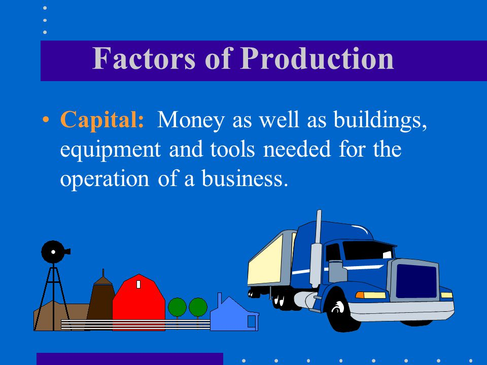 Factors of Production Capital: Money as well as buildings, equipment and tools needed for the operation of a business.