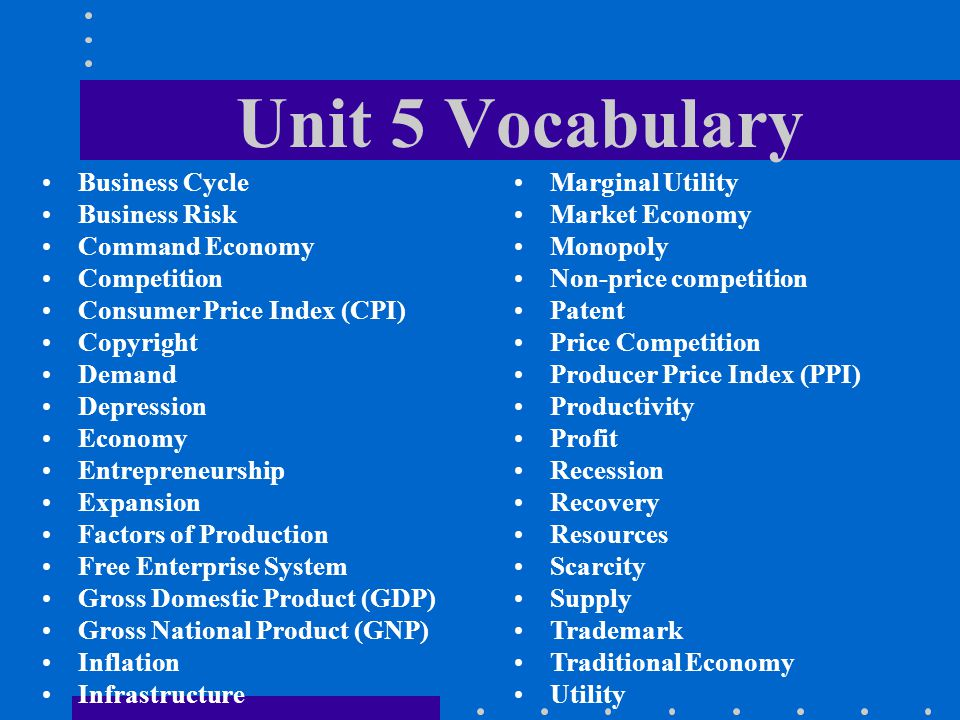 Unit 5 Vocabulary Business Cycle Business Risk Command Economy