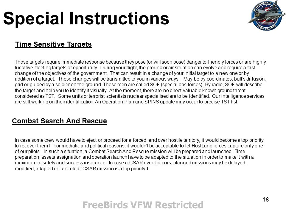 FreeBirds VFW Restricted