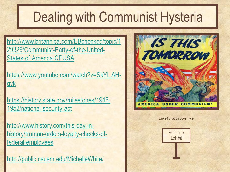 Dealing with Communist Hysteria