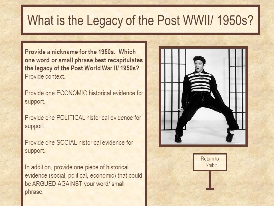 What is the Legacy of the Post WWII/ 1950s