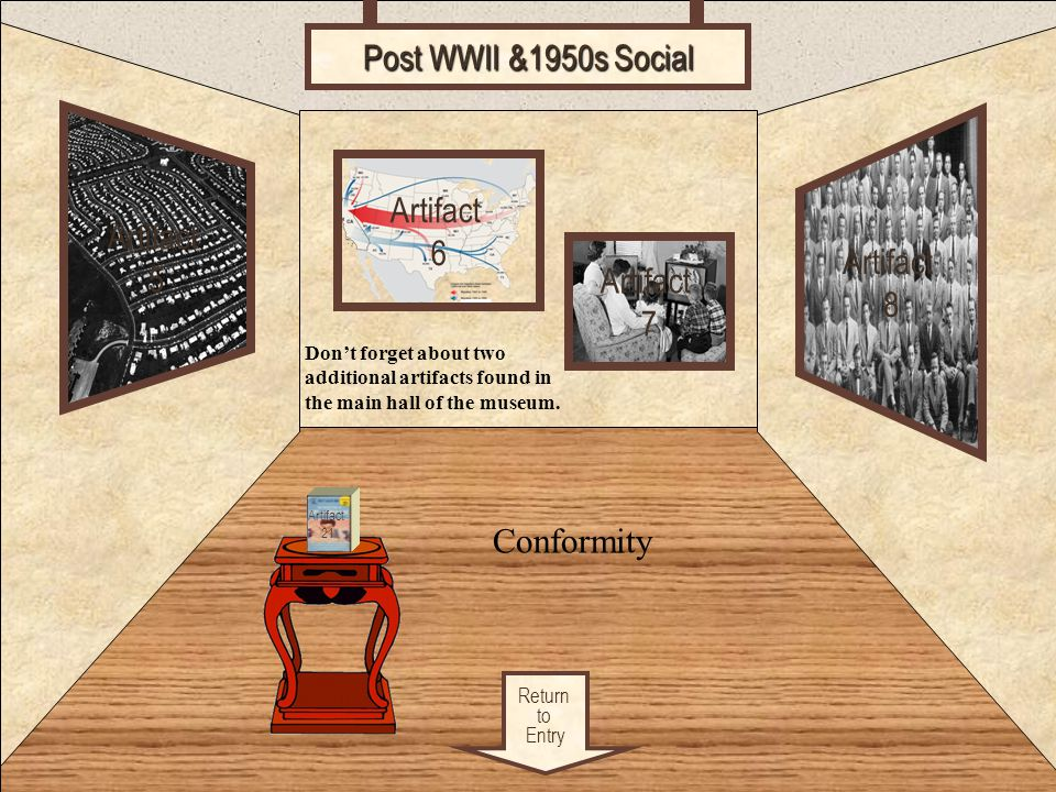 Room 2 Post WWII &1950s Social Artifact Artifact 6 5 Artifact 8
