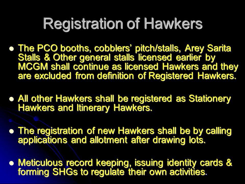 Registration of Hawkers