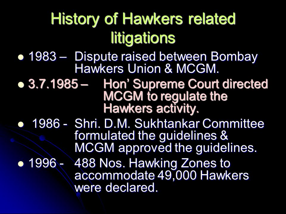 History of Hawkers related litigations