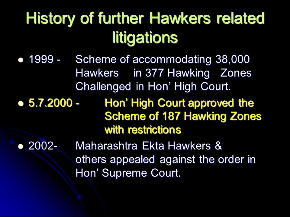 History of further Hawkers related litigations