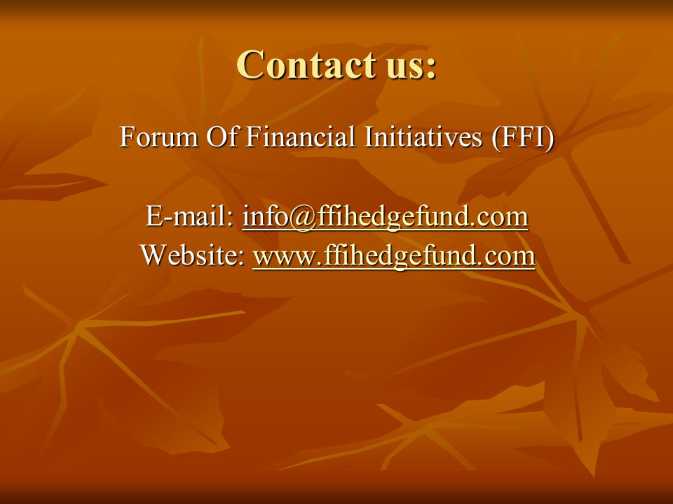 Contact us: Forum Of Financial Initiatives (FFI)