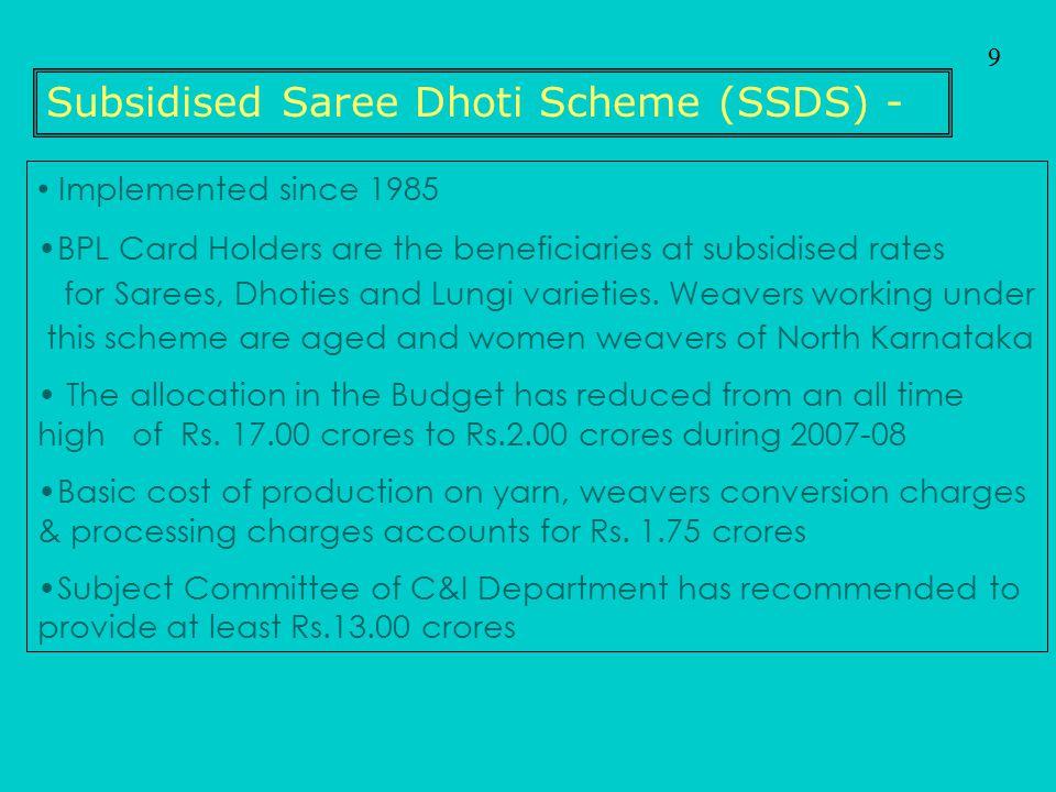 Subsidised Saree Dhoti Scheme (SSDS) -