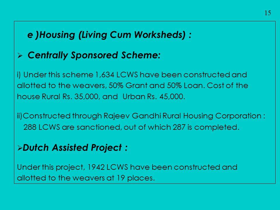 e )Housing (Living Cum Worksheds) :