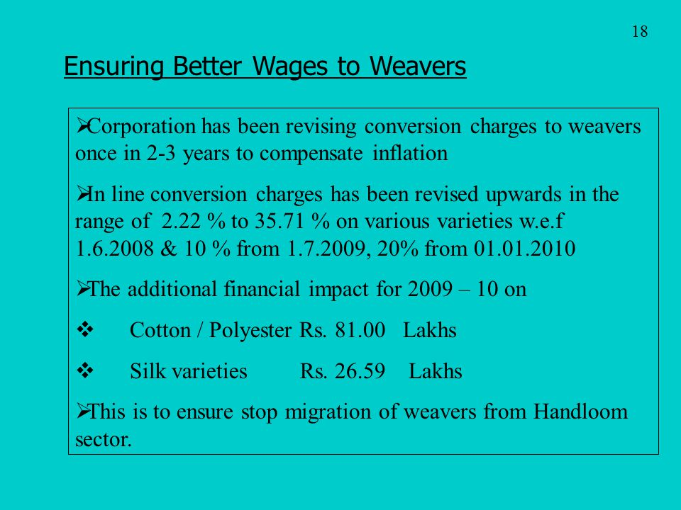Ensuring Better Wages to Weavers
