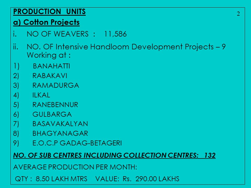 NO. OF Intensive Handloom Development Projects – 9 Working at :