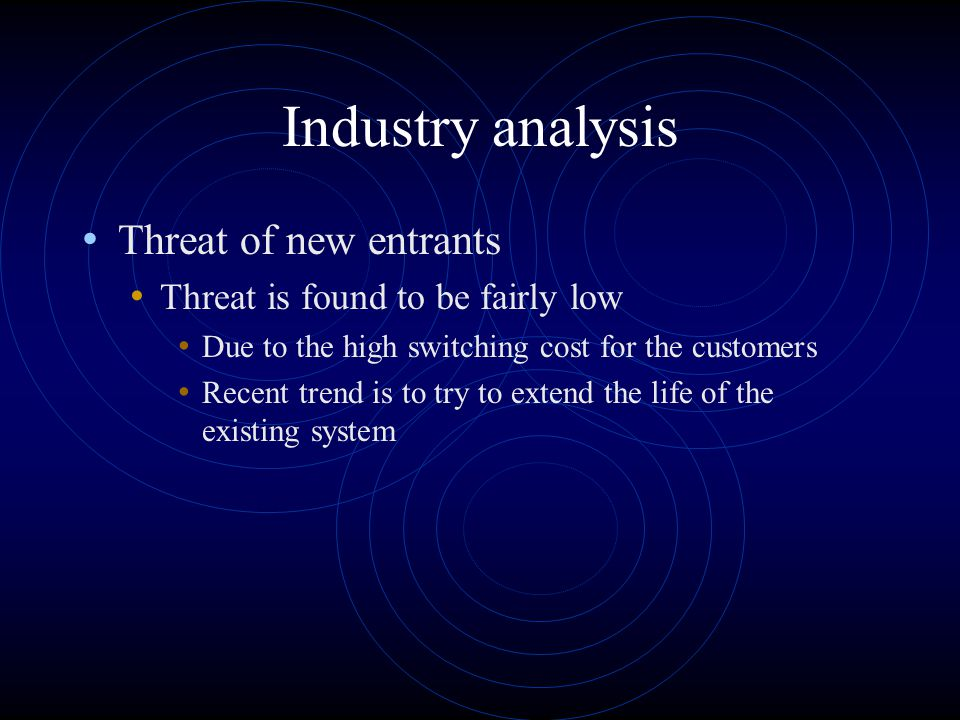 Industry analysis Threat of new entrants