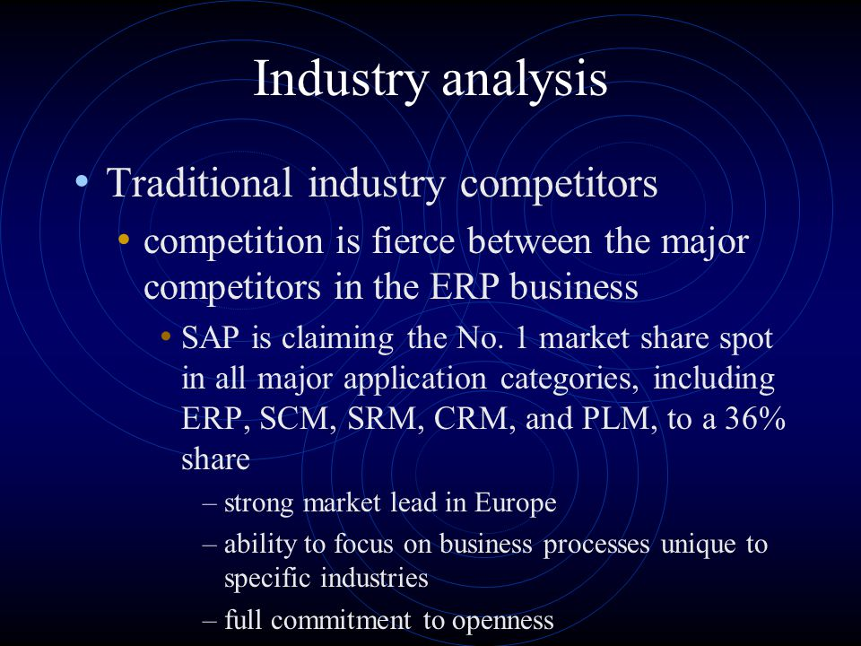 Industry analysis Traditional industry competitors