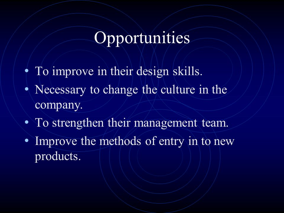 Opportunities To improve in their design skills.