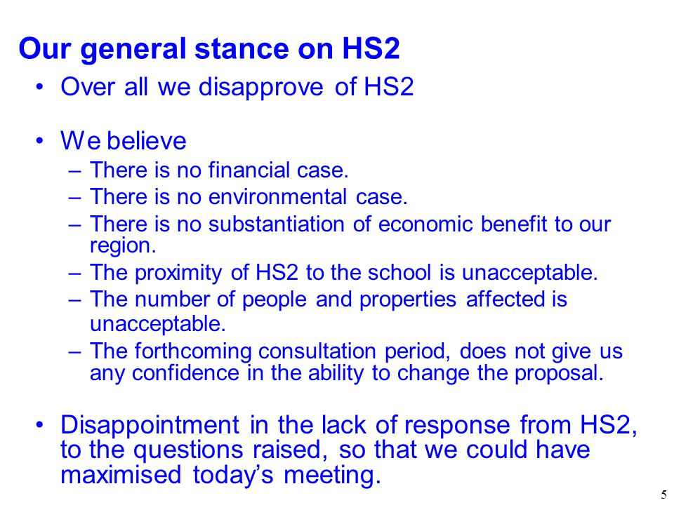 Our general stance on HS2