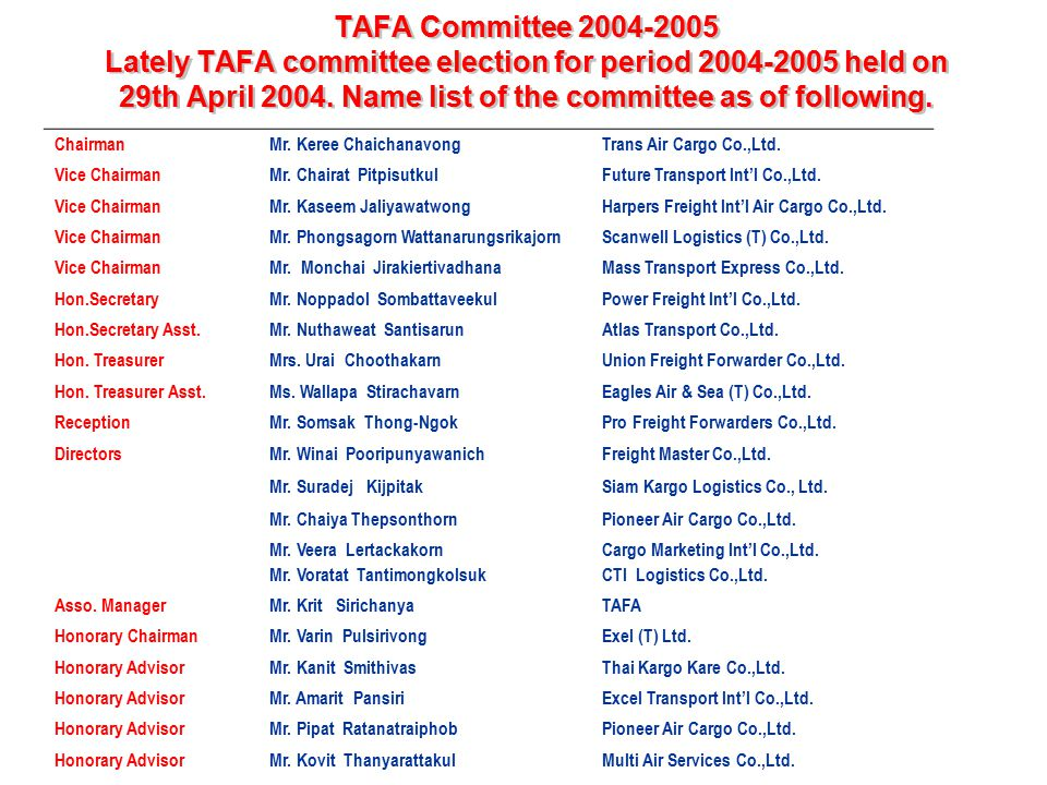 TAFA Committee 2004-2005 Lately TAFA committee election for period 2004-2005 held on 29th April 2004. Name list of the committee as of following.