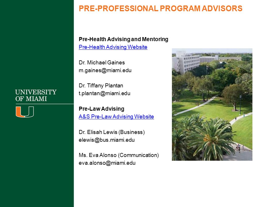 PRE-PROFESSIONAL PROGRAM ADVISORS