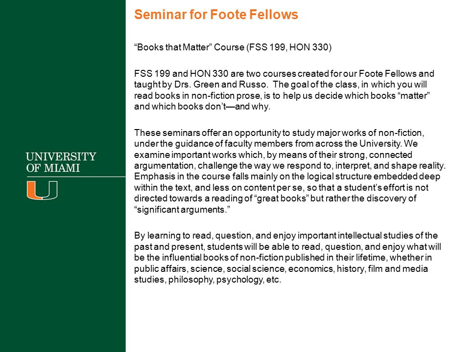 Seminar for Foote Fellows