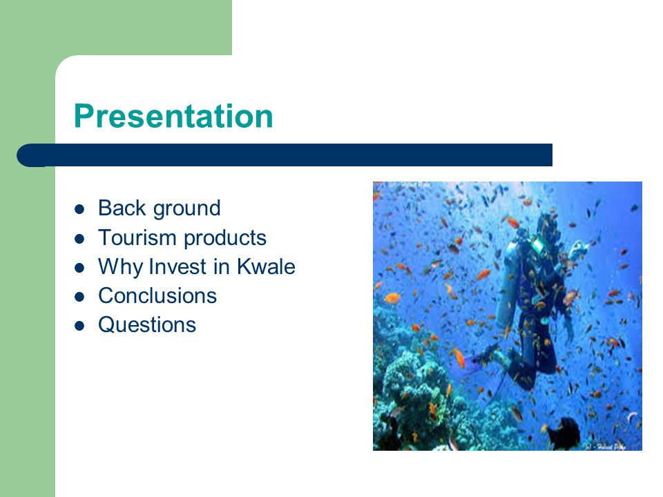 Presentation Back ground Tourism products Why Invest in Kwale