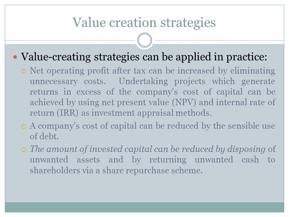 Value creation strategies