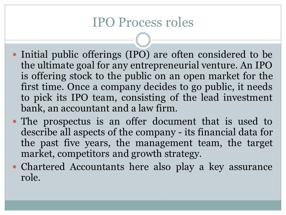 IPO Process roles
