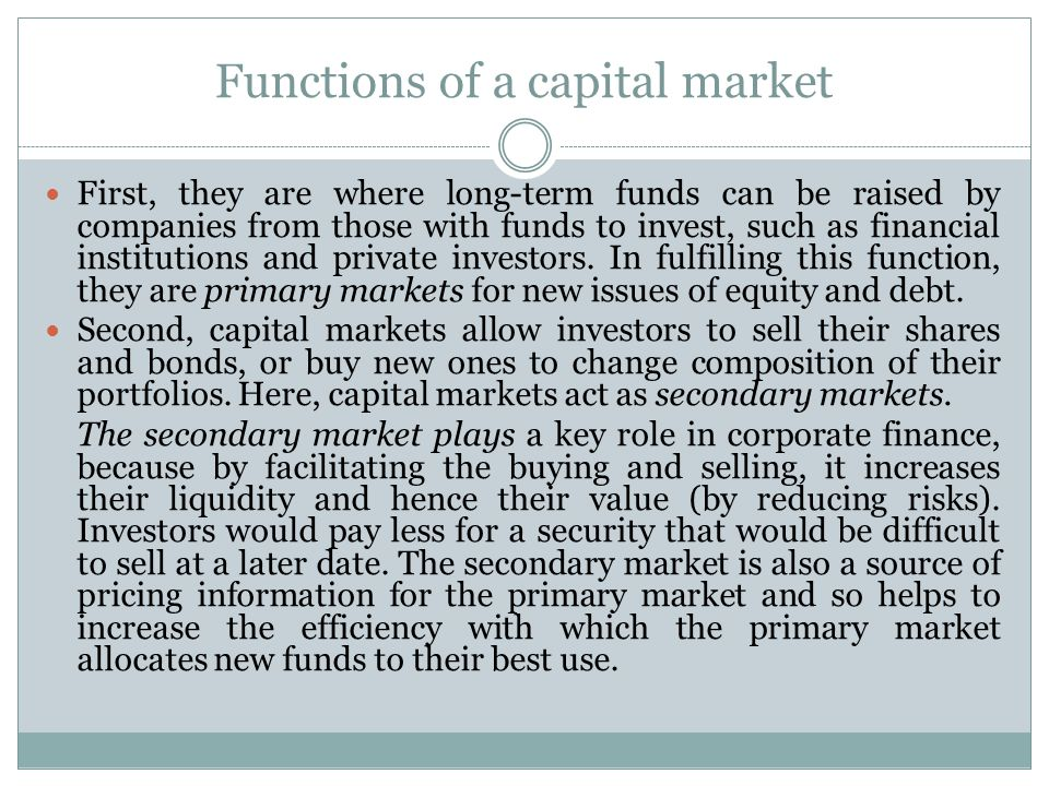 Functions of a capital market