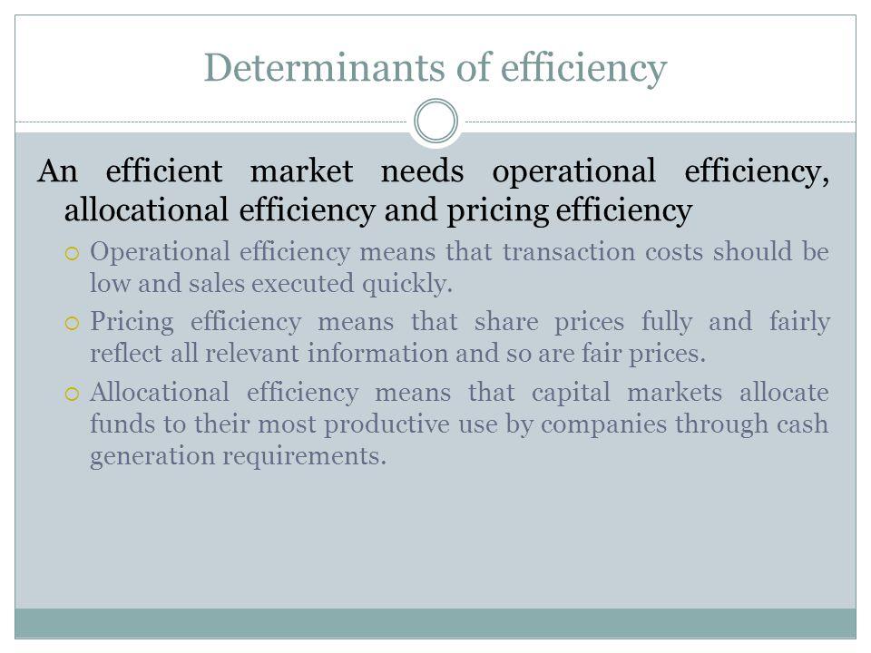 Determinants of efficiency