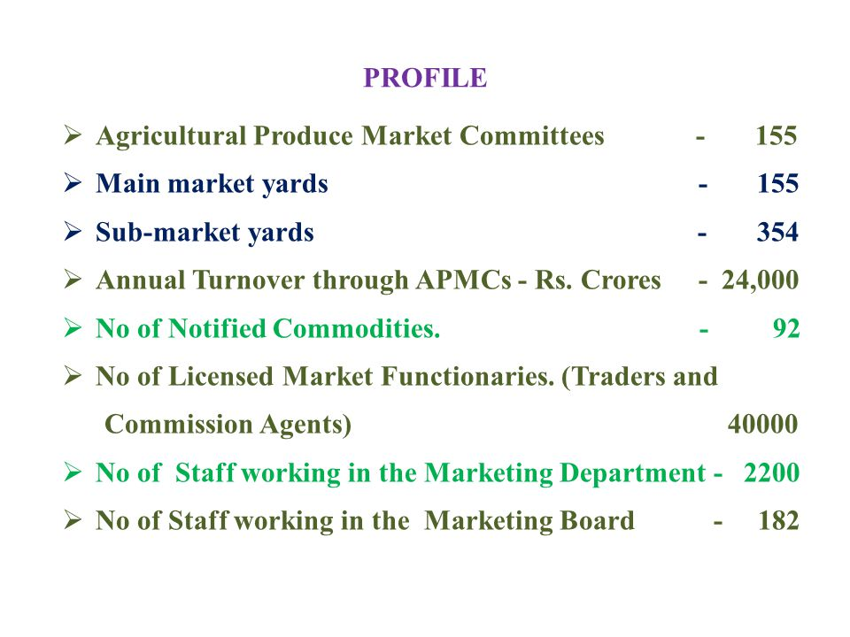 PROFILE Agricultural Produce Market Committees - 155.