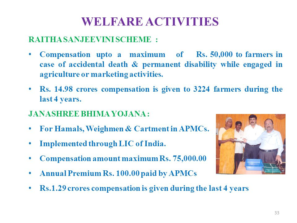 WELFARE ACTIVITIES RAITHA SANJEEVINI SCHEME :