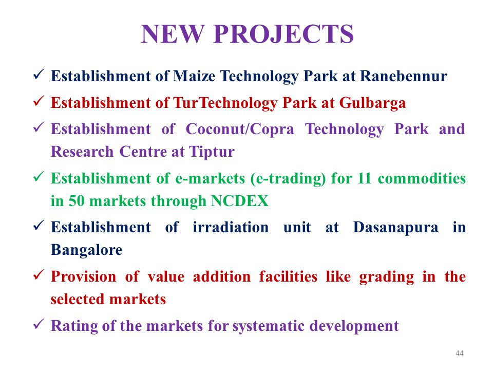 NEW PROJECTS Establishment of Maize Technology Park at Ranebennur