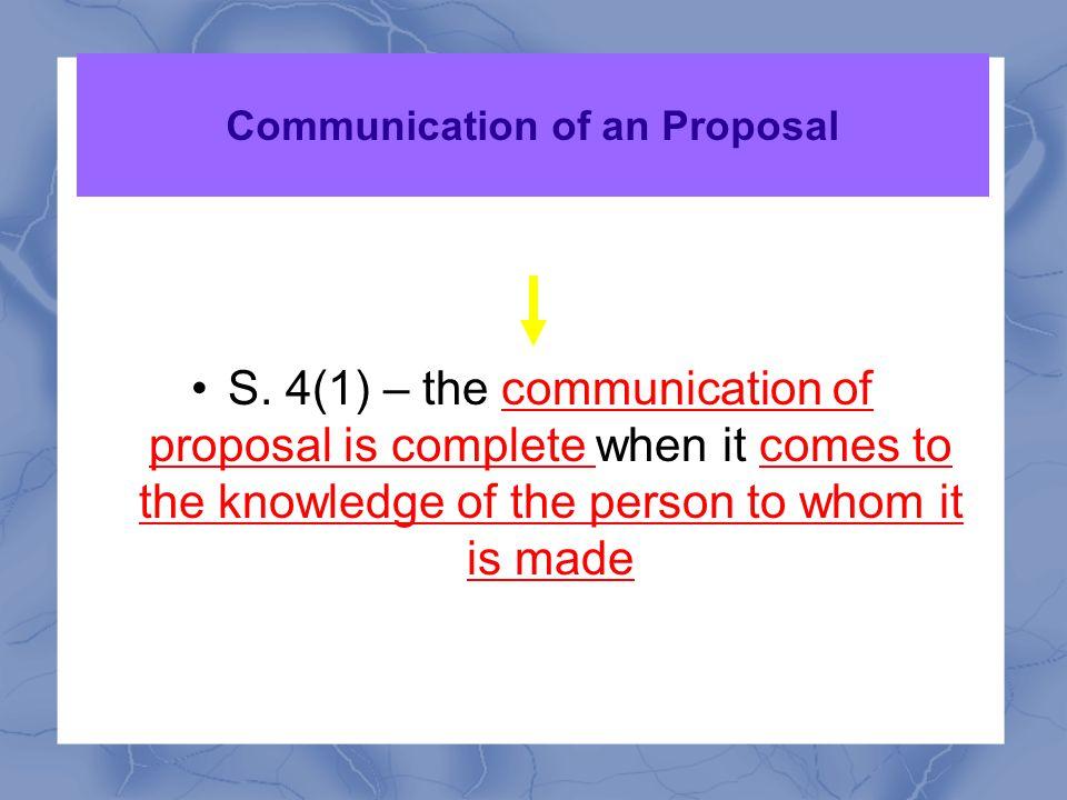 Communication of an Proposal