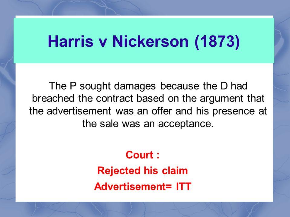 Harris v Nickerson (1873)