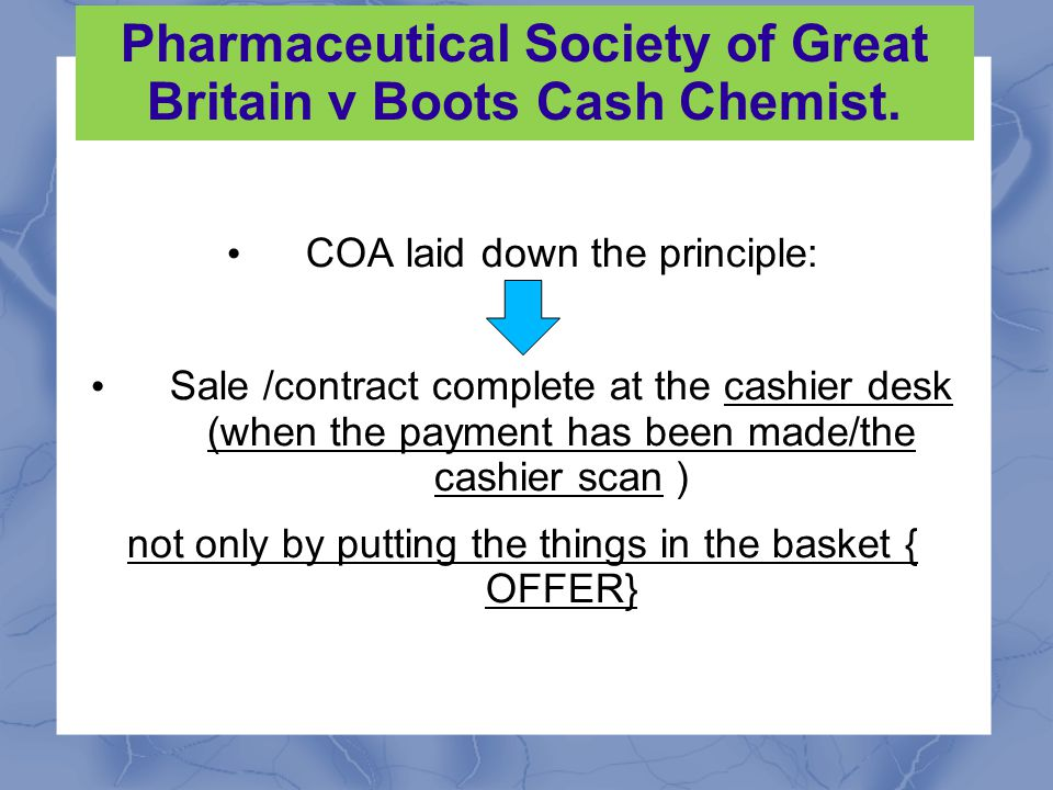 Pharmaceutical Society of Great Britain v Boots Cash Chemist.