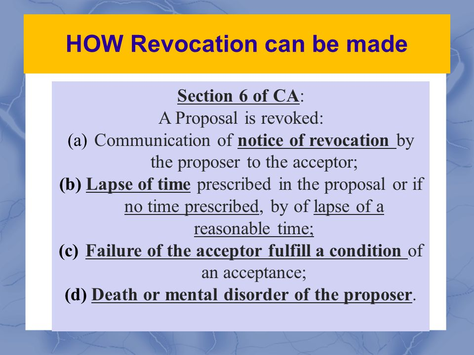 HOW Revocation can be made