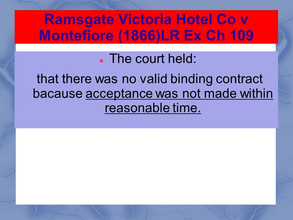Ramsgate Victoria Hotel Co v Montefiore (1866)LR Ex Ch 109