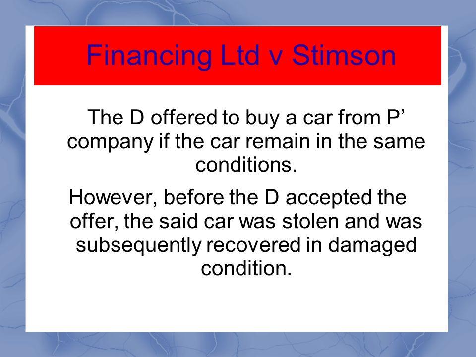 Financing Ltd v Stimson
