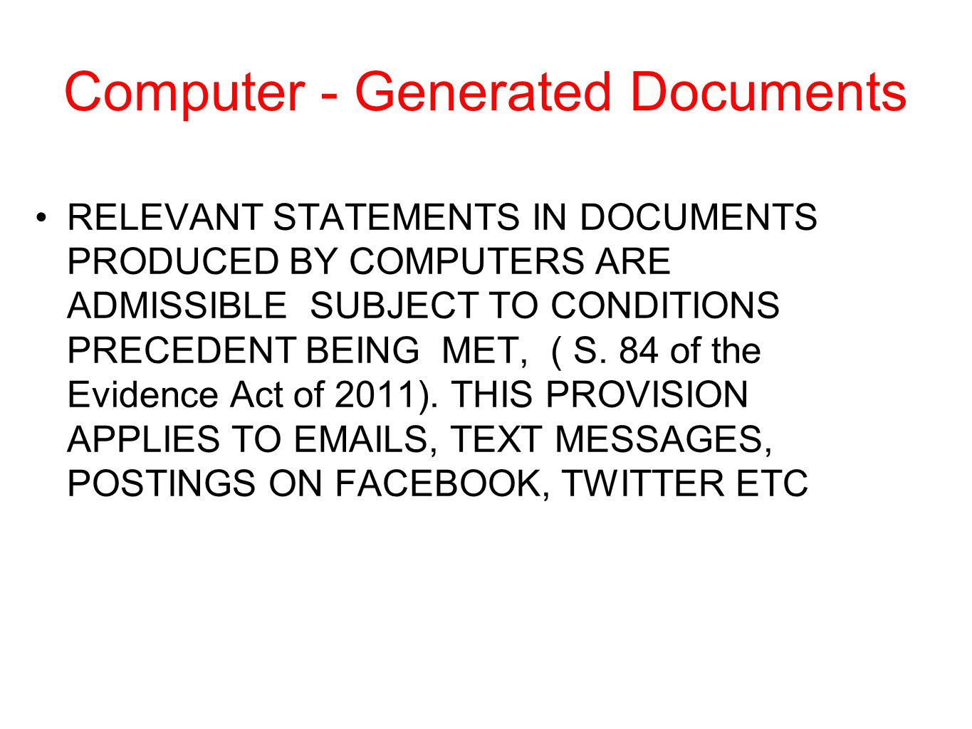 Computer - Generated Documents