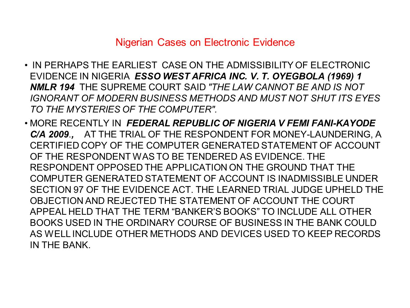 Nigerian Cases on Electronic Evidence