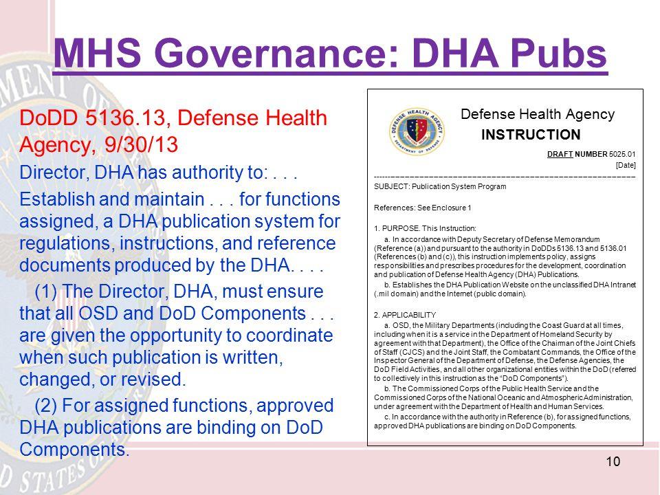 MHS Governance: DHA Pubs